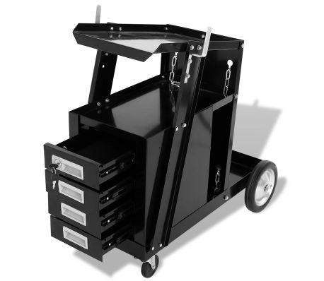 Carro para equipo de soldadura con 4 cajones en color negro