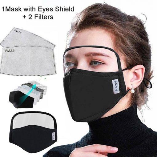 Máscara protectora de algodón integrada con gafas