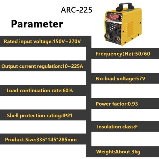 Maquina de soldar ARC-225 portáti inversa para trabajo de soldadura