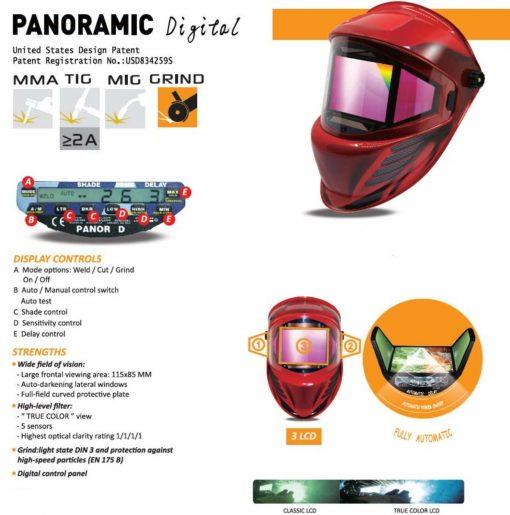 Máscara de Soldadura de oscurecimiento automático vista 115x85mm DIN 4-14 con 3 filtros