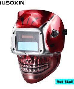 Máscara de Soldadura modelo esqueleto Batería AAA de cráneo rojo