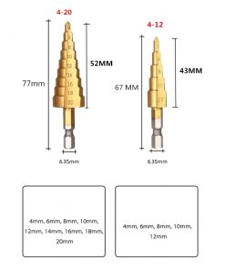 """Brocas hexagonales de metal recubierto de titanio de paso cónica métrica, 4 - 12/20mm, 1 / 4 """""""