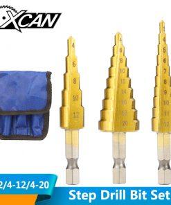 Conjunto de brocas revestimiento de titanio para taladro, 3 uds., 3-12mm, 4-12mm, 4-20mm