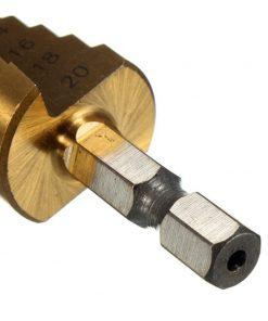 Brocas hexagonales de metal recubierto de titanio de paso cónica métrica, 4 - 12/20mm, 1 / 4