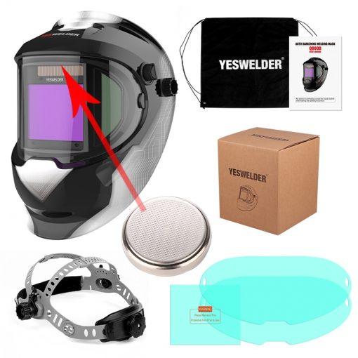 YESWELDER panorámico 180 gran visión casco de soldadura con energía Solar Máscara de Soldadura Auto oscurecimiento capucha vista lateral LYG-Q800D
