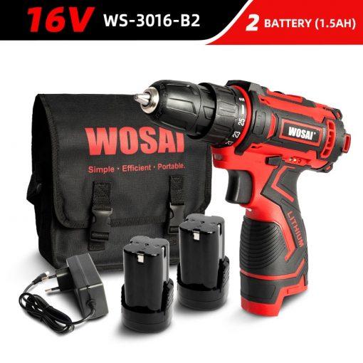 WOSAI-destornillador eléctrico inalámbrico, Mini controlador de potencia, batería de iones de litio CC de 3/8 pulgadas, 12V, 16V, 20V