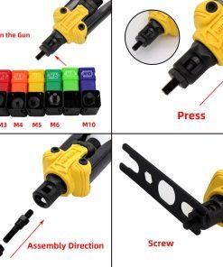 Pistola remachadora de mano con caja, herramienta de inserción manual de tuercas roscadas con mandril para M3 M4 M5 M6 M8 M10